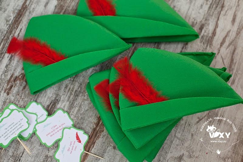 palarii Peter Pan, tema petrecere Peter Pan, botez personalizat Peter Pan, palarii Peter Pan realizate manual, Peter Pan si Clopotica