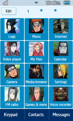 Samsung GT-S5260 Naruto Theme 1 Free Download Menu