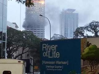 kes sengaja bakar bangunan polis bukit aman