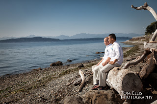 Ian and Jeff contemplate the Puget Sound - Wedding officiated by Patricia Stimac, Seattle Wedding Officiant
