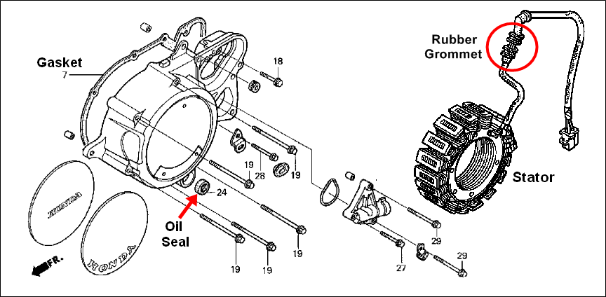 stator problems need help fast page 2 honda shadow forums if it s not too much trouble could you pinpoint where the oil leak is from the diagram below or take a pic your cellphone etc and post the pic