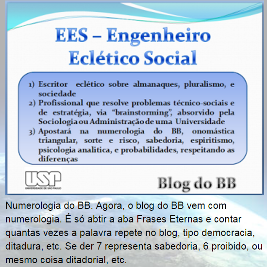 Sobre o EES. e Numerologia do BB