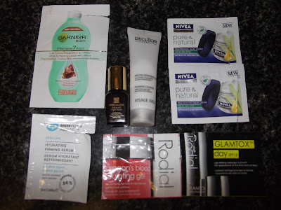 Garnier 7 day moisturiser, Estee Lauder Night Firming, Nivea Pure and Natural, Rodial Dragons Blood Rodial glamtox Decleor foaming cleanser Green people hydrating serum