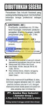 Lowongan Kerja Lampung, Senin 27 April 2015 di PT. ANEKA GAS INDUSTRI (Samator Group)