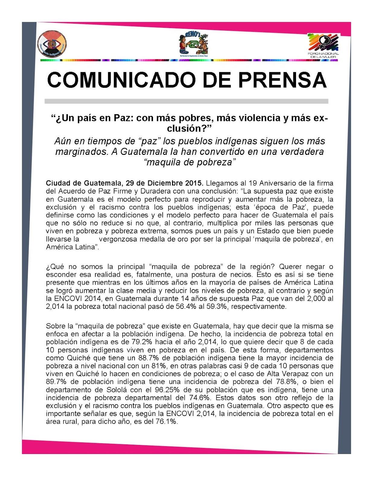 Comunicado de Prensa: EN EL MARCO DEL ANIVERSARIO DE LA FIRMA DE LA ...