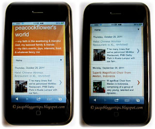 My iPhone 3GS, displaying the mobile template version for my blogspot blog
