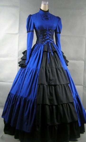 Vintage Blue and Black Gothic Victorian Dress