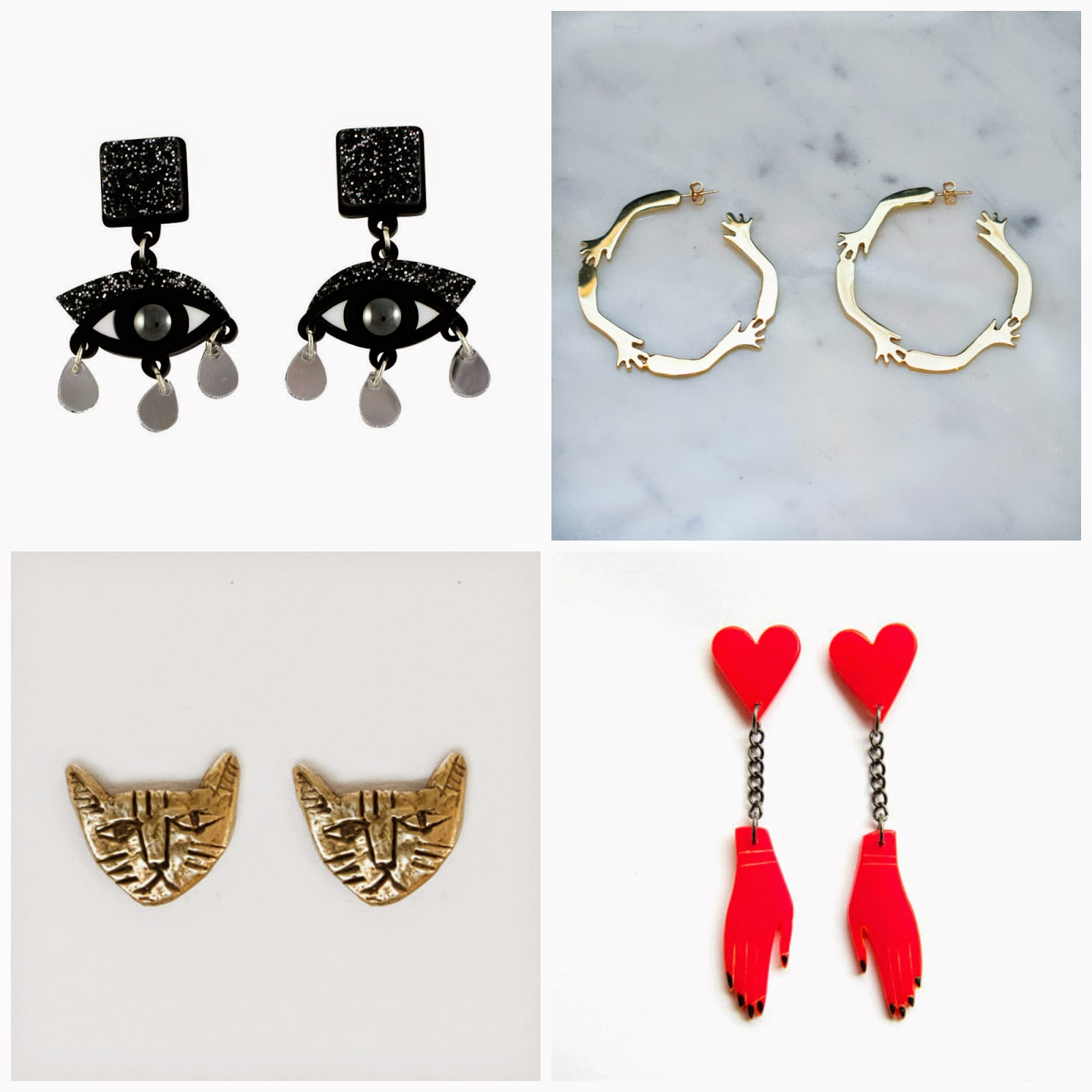 Earrings, Earring Wishlist, Jennifer Loiselle eye earrings, LAB by Laura Busony hand hoops, Julia De Klerk hand earrings, Datter Industries cat earrings