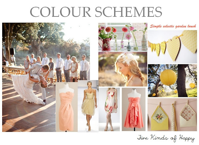Wedding colours, peach, lemon, mustard, gold, grey, neutral, colour board