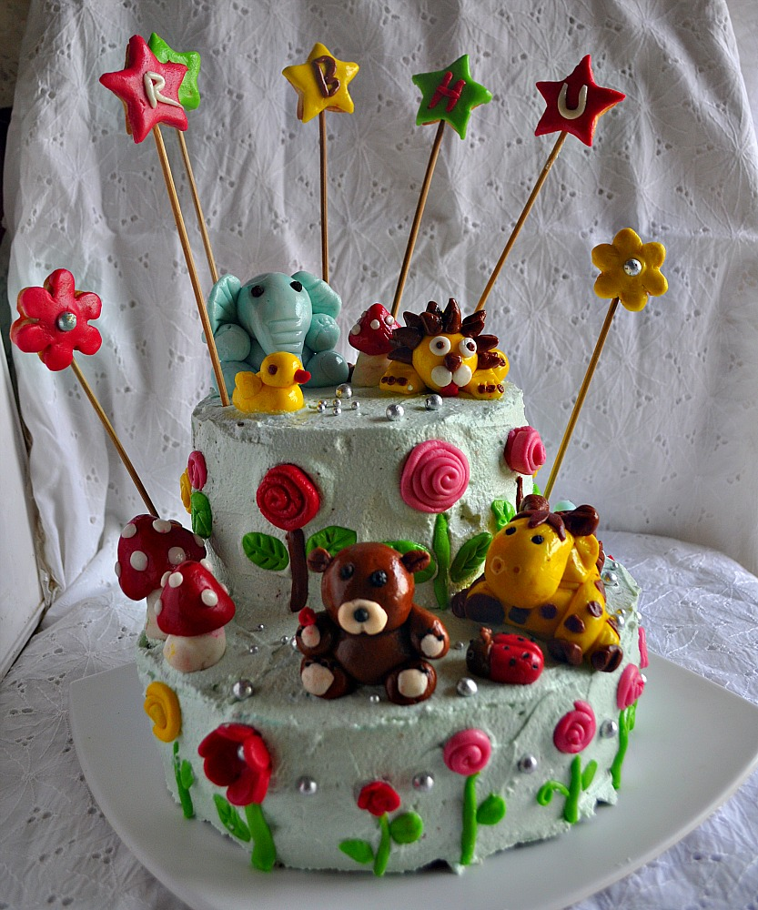 2 Tiered Jungle Cake with Fondant animals and Swiss Meringue Butter