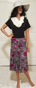 Ladies Black and Magenta Full circle skirt