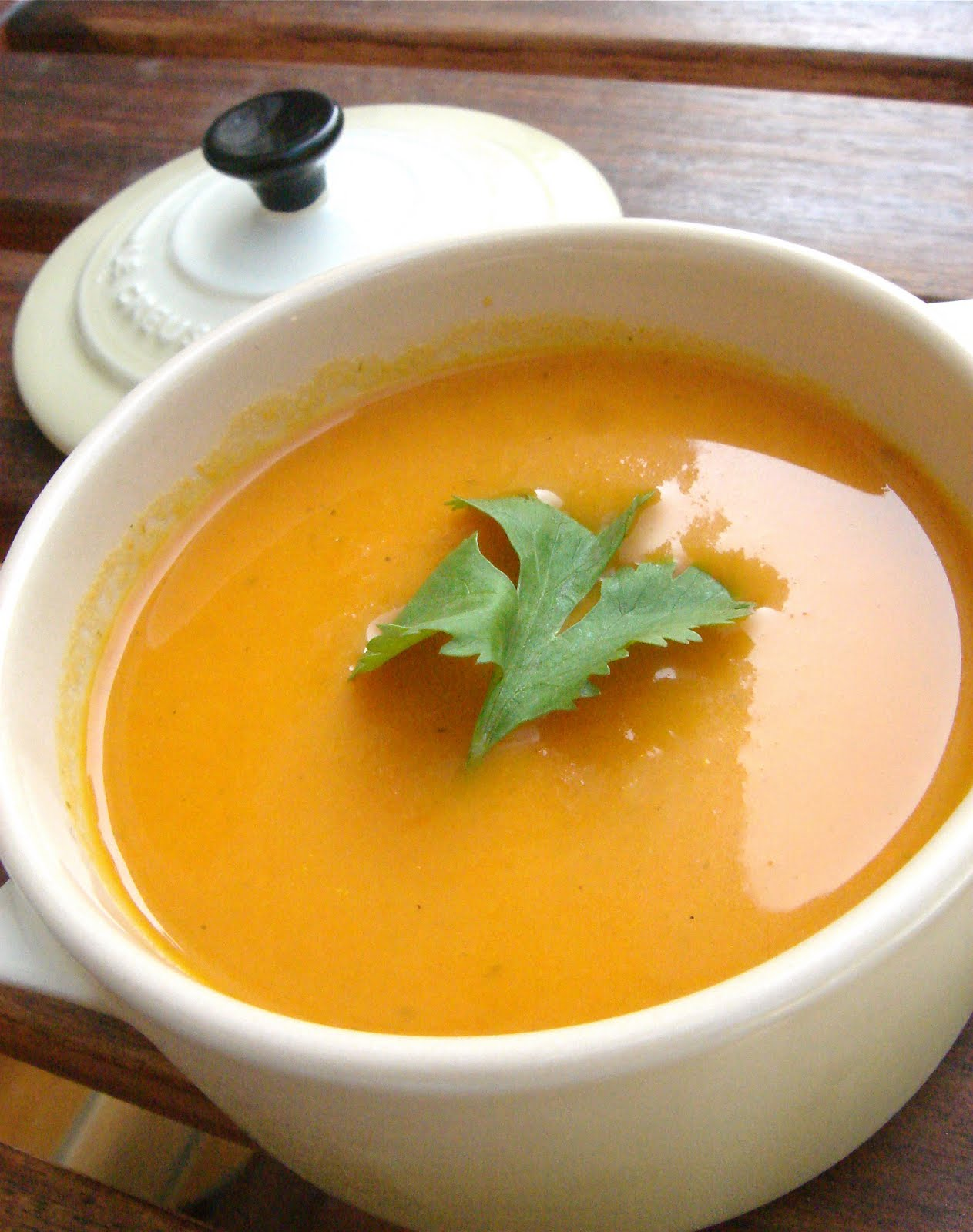East meets West: Carrot and Coriander Soup