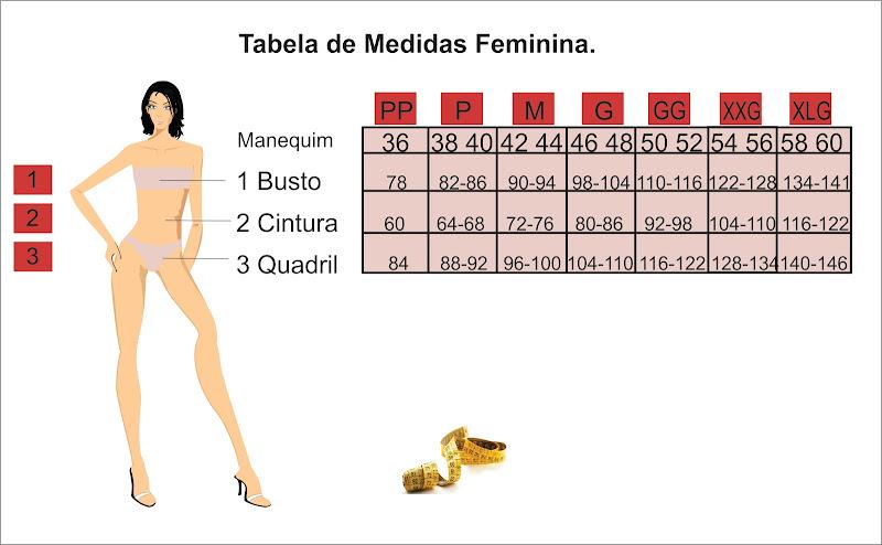 Tabelas de Medidas Feminina title=