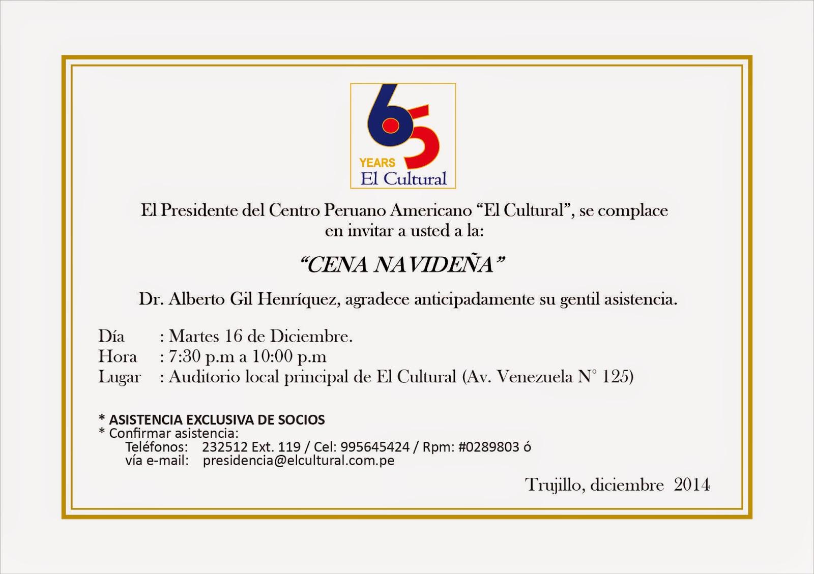 socios el cultural  invitaci u00f3n a socios para cena navide u00d1a
