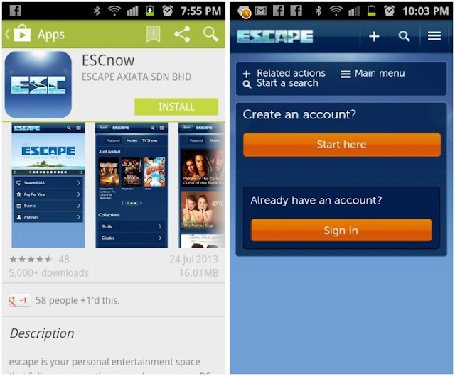ESCAPE by Celcom, Your World of Entertainment, escape, entertainment apps, tech, telco, celcom, ESCnow app, sigh in, register