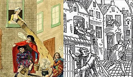 A história do banheiro - Europa - penicos esvaziados pela janela