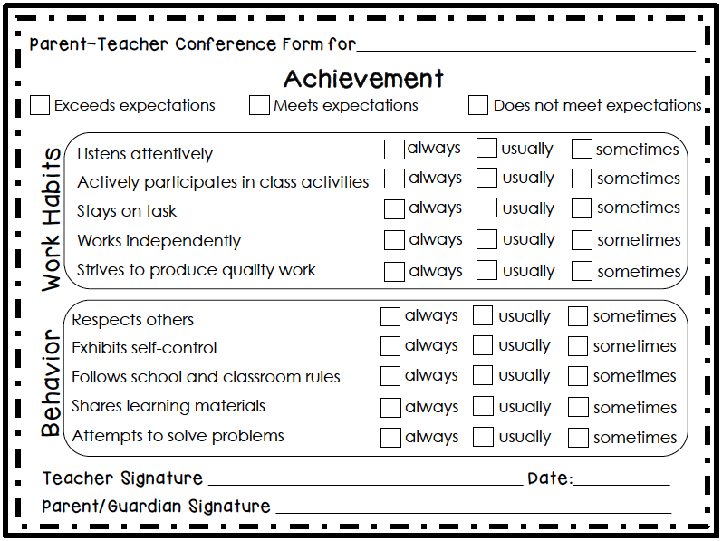 Employee Re mendation Letter also Free Parent Teacher Conference Forms ...