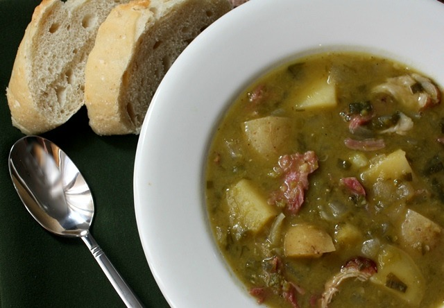 Split Pea, Potato, Ham and Leek Soup in the Crockpot recipe by Barefeet In The Kitchen