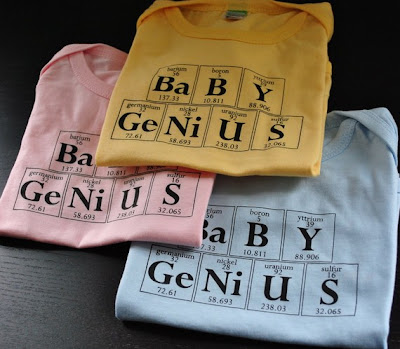 Baby genius, onesie, periodic table, chemistry, geek baby