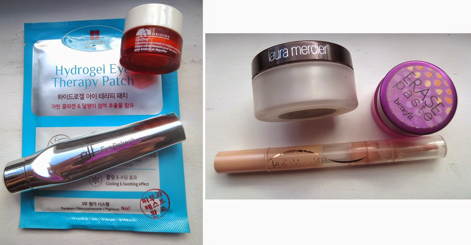 Treat & Conceal : Leaders Hydrogel patch, e.l.f. eye refresher, origins ginzing refreshing eye cream, maybelline dream lumi, benefit erase paste, laura mercier secrete brightening powder