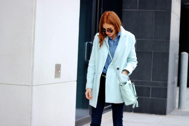 Blue Fuzzy Coat, Blue Jeans, Mint bag- January Blues
