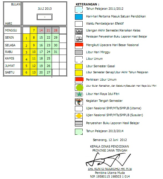 Kalender Pendidikan TK/SD/SMP/SMA Tahun Pelajaran 2012/2013