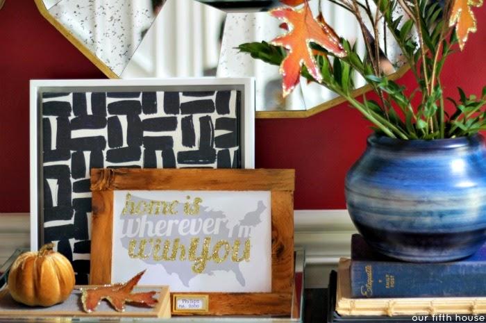 fall foyer table vignette