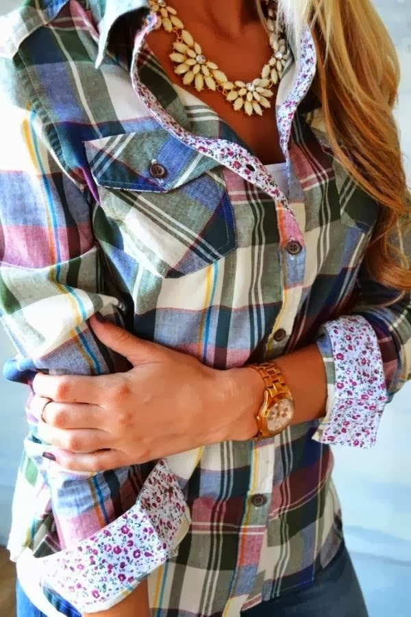 Good-Looking Plaid Colorful Sleeve Shirt, Accessories