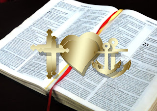Crown, heart, anchor, Bible