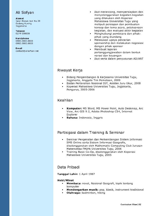 Template Cv Untuk Melamar Kerja | eBook Database