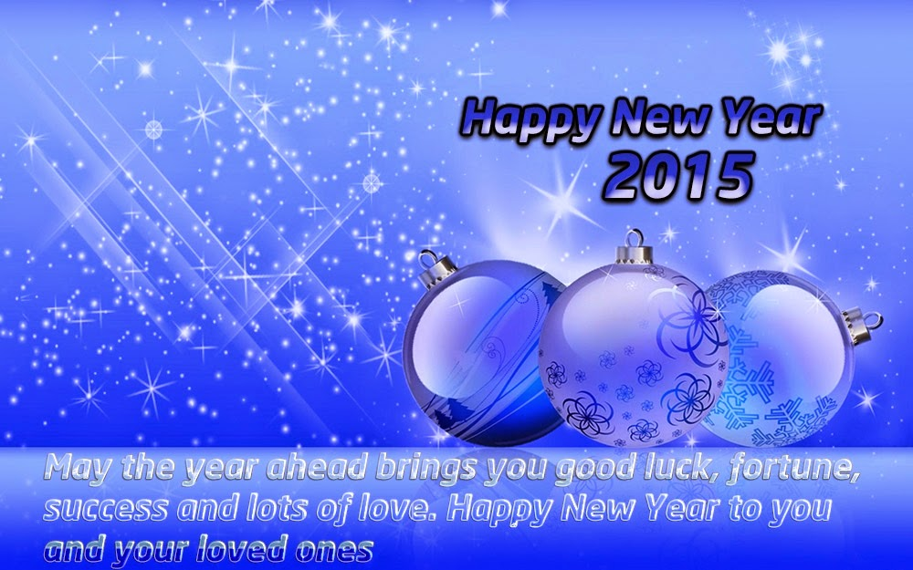 Christmas Blue Balls Happy New Years Wishes 2015 eCards Images