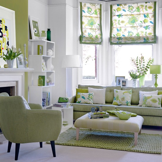 Modern furniture decorating living room with mint green Green colour living room
