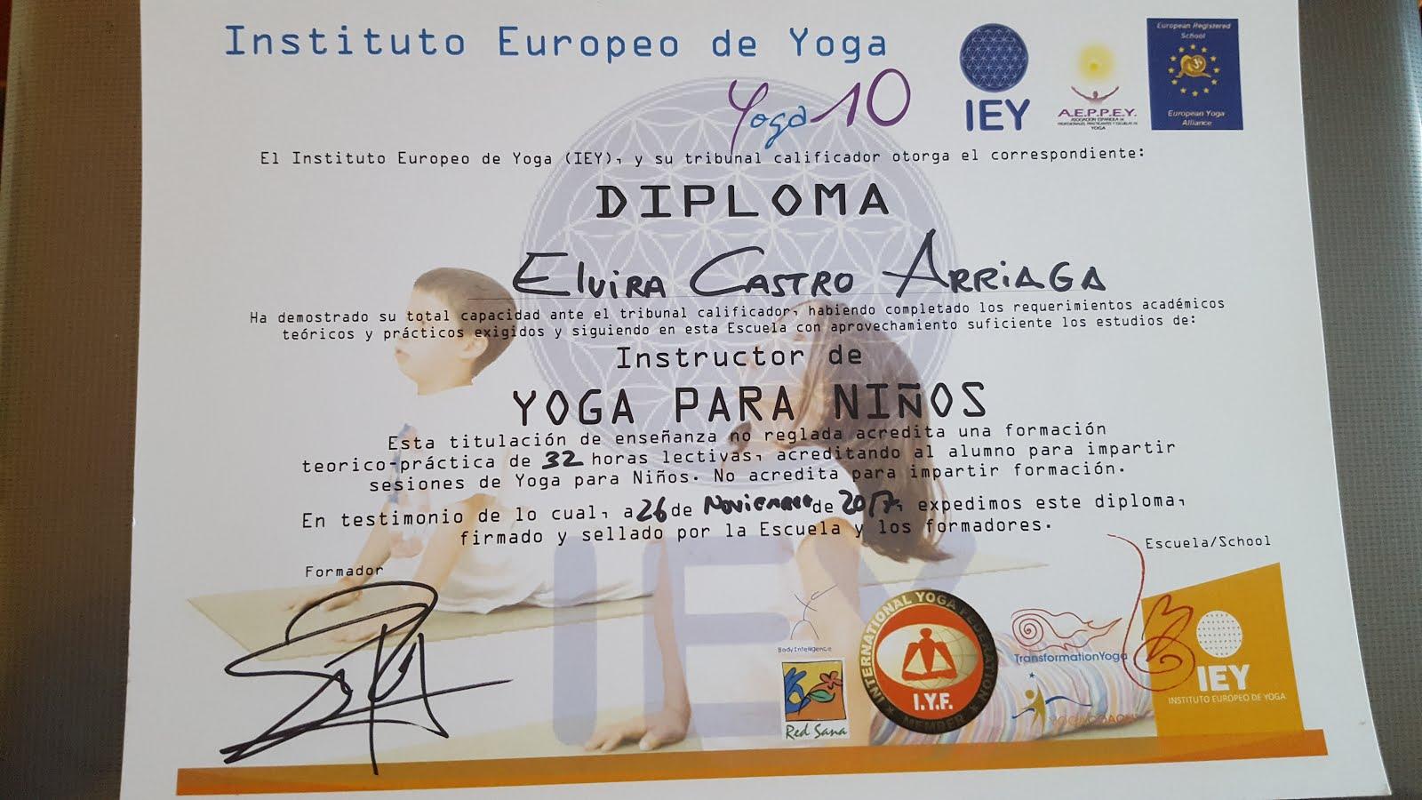 Título de instructor de yoga para niños