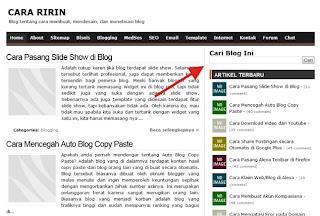 Widget Kotak Penelusuran di Blog Cara Ririn