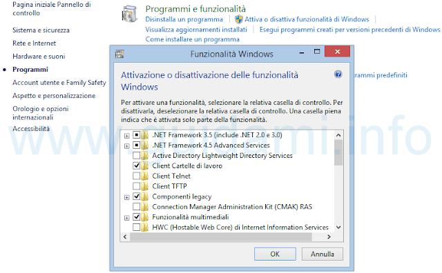 Funzionalità di Windows da attivare o disattivare