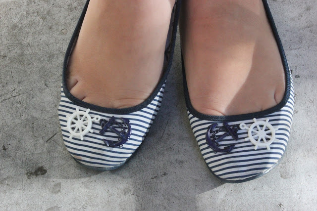 Nautical Navy Striped Anchor Flats