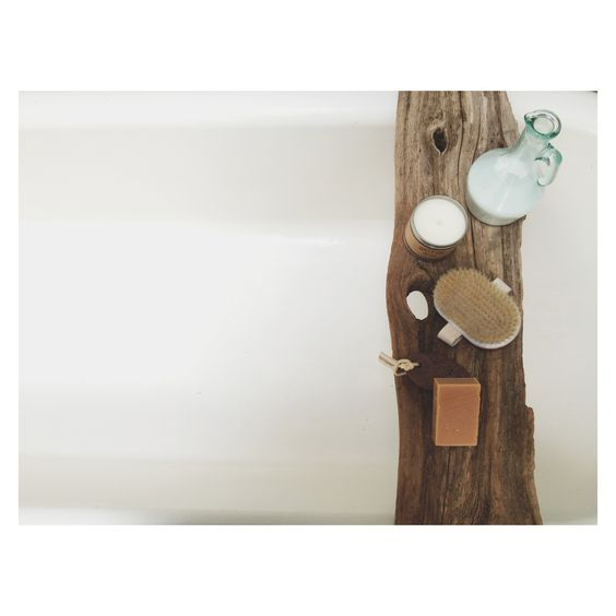 a perfect gray: Wooden Bath Caddies