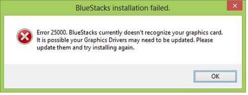 Fix Bluestacks Graphics Card Error 25000