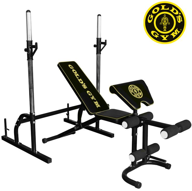 Pure fitness and sports gold 39 s gym weight bench with squat rack just in stock Weight bench and weights