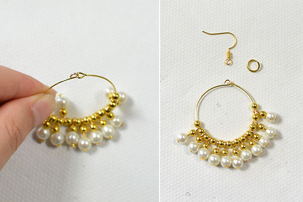 Secondly Slide One Gold Bead And Dangle Onto The Earring Hoop Then Do It Repeatedly Until You Get Desired Dangles