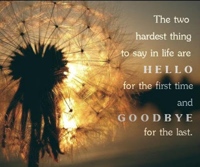 The two hardest thing to say in life are hello for the first time and goodbye for the last.