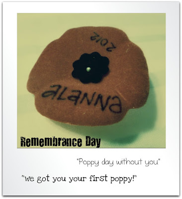 Alanna's first Poppy pin for Remembrance Day