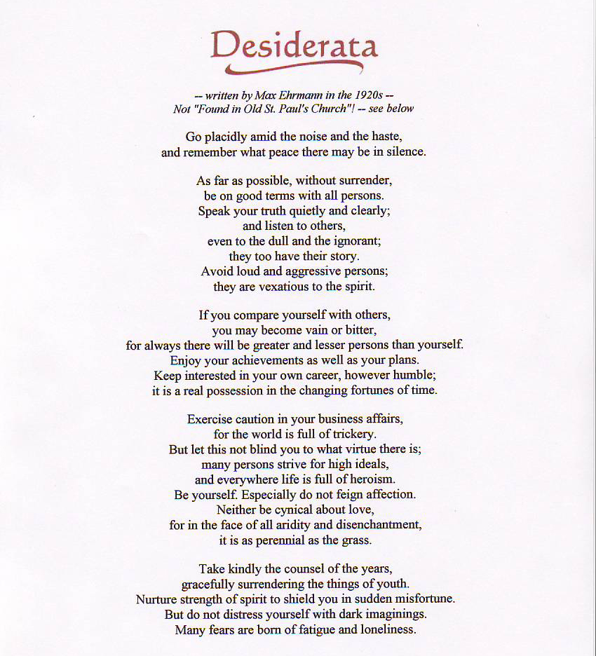 Hilaire image with regard to desiderata printable