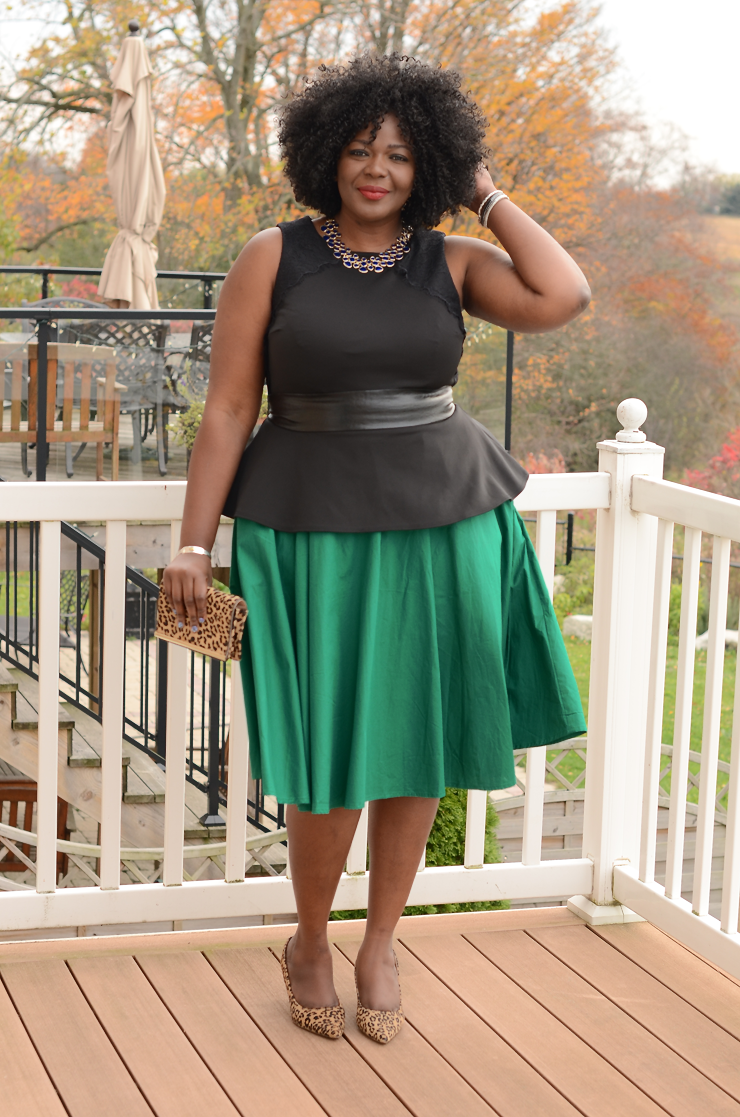 Plus size blogger wearing eshakti dress as a skirt #plussize #additionelle #fullskirt #toronto #canaadianblogger