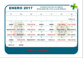 FARMACIAS DE GUARDIA ENERO 2017