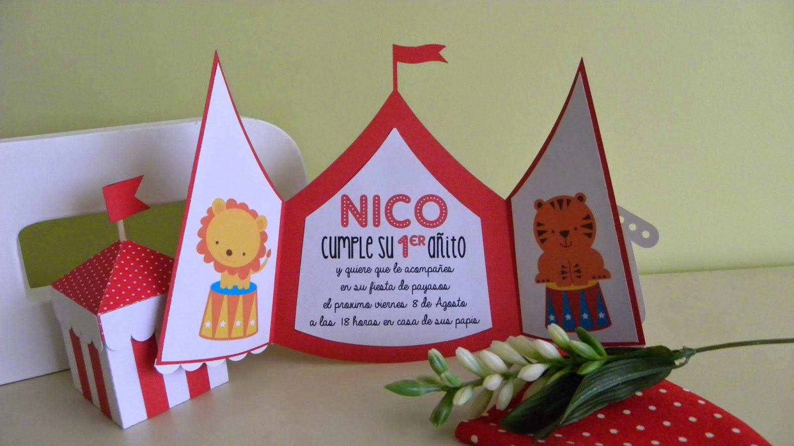 Scraparizate: PRIMER CUMPLE: INVITACIÓN CIRCO