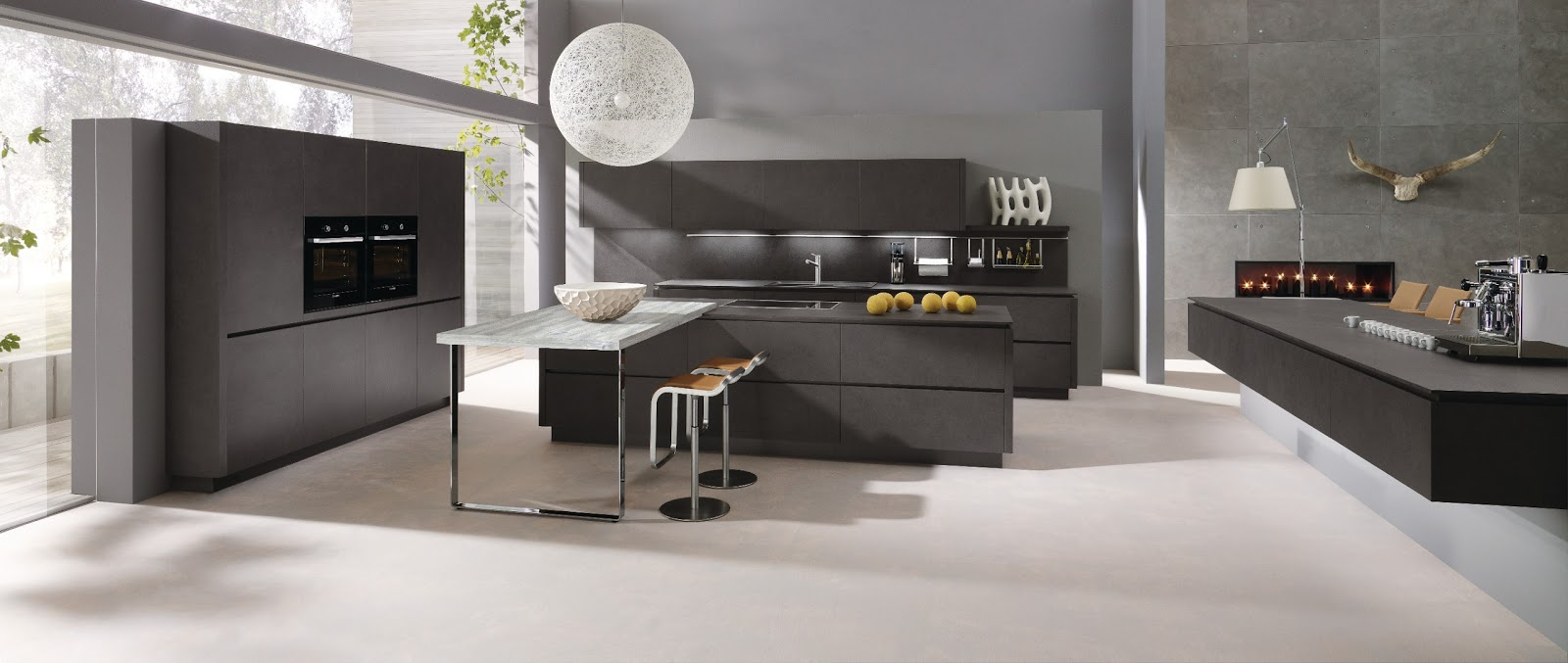 Cuisine design anthracite avec lot for Cuisine grise design