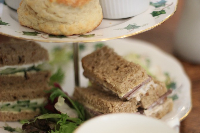 finger sandwiches and scones at Pettigrew