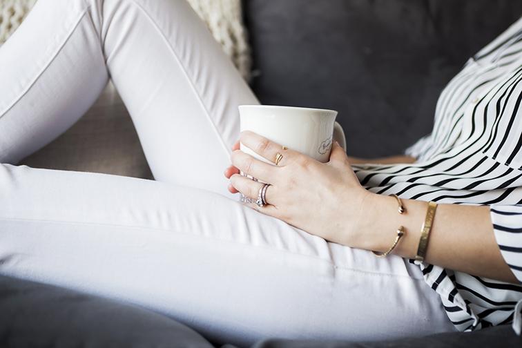 White J Brand Zoe jeans, Denim Jenny Bird snake cuff, Coordinates Collection New York gold bangle,  Catbird arrow ring