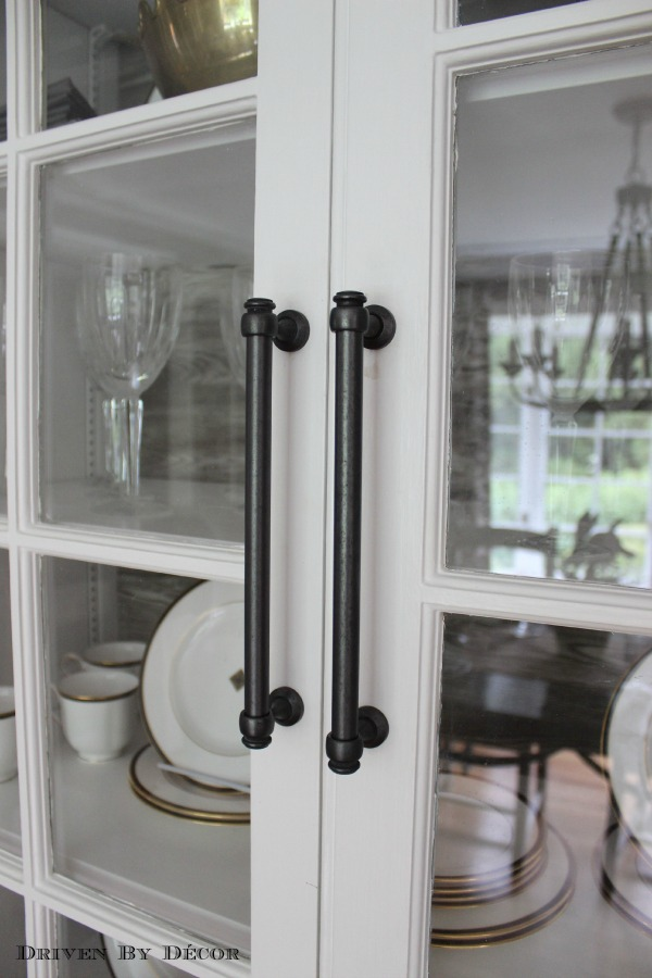 i also changed out the small brass knobs on the glass cabinet doors to 8 oil rubbed bronze pulls restoration hardware lugarno pulls - Restoration Hardware Kitchen Cabinet Pulls